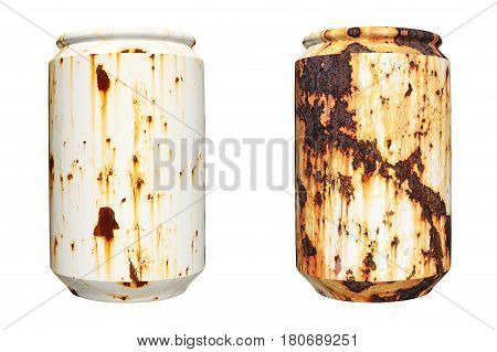 close up of  rusty can isolated on white background
