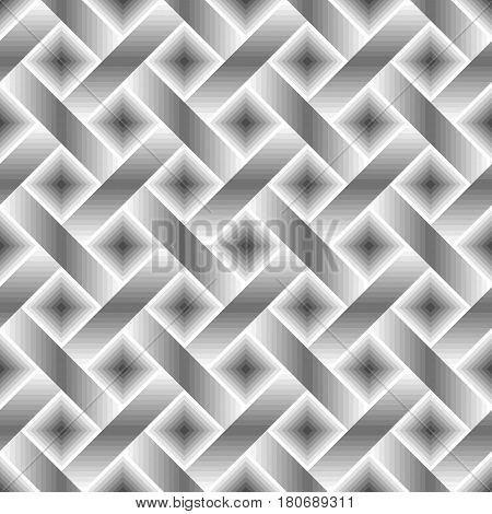 Seamless monochrome geometric pattern with gray black white lines and squares. Interweaving or interlacing of stripes