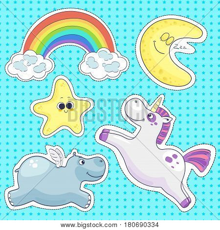 Sweet dreams isolated elements for your design. Good night stickers collection. Vector illustration