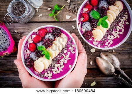 Blueberry Smoothie Bowl With Banana, Raspberry, Pitaya, Blackberry, Almonds, Sunflower And Chia Seed