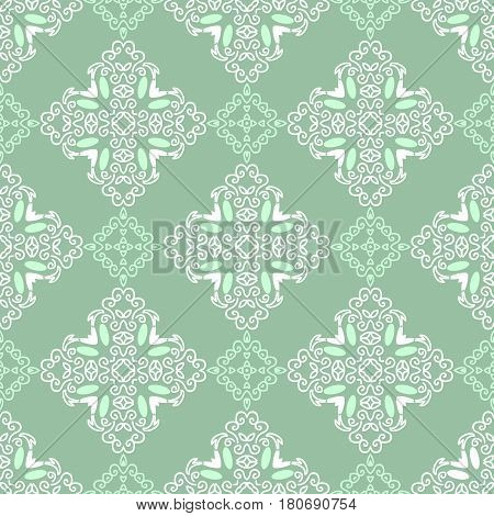 Seamless pattern with squares from green and white outlines on dark green background. Ornamental pattern from curve lines