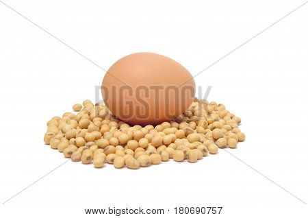 egg on soybean isolated on white background