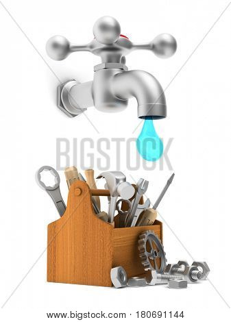 Repair water tap. Isolated 3D illustration