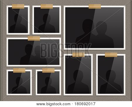 Vector page of photo album. Frames attached to the paper with scotch tape.