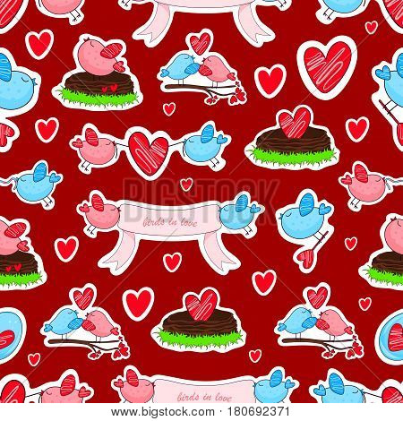 Vector stickers with birds in love and friendship. Funny cartoon seamless bacground.