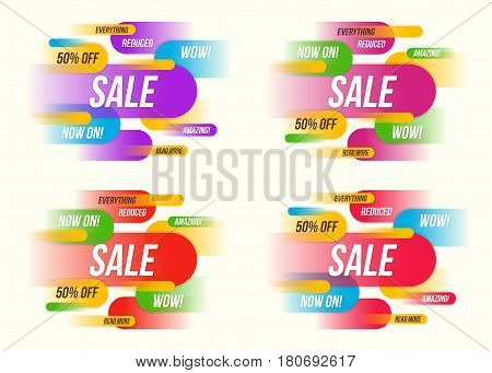 Set of colorful horizontal dynamic style sale banner designs templates stickers posters. Vector illustration.