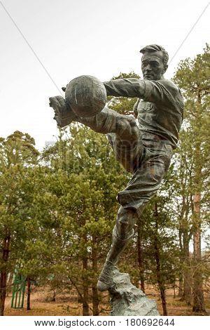 Leningrad region. City Sestroretsk - 10.04.2017: bronze monument to the football player