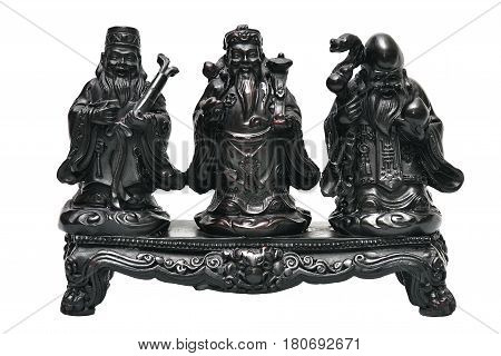 Statue Hock Lok Xiu gods of Chinese for happiness and lucky wish, famous decoration statue from China.