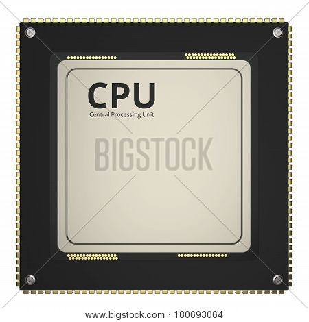 3d rendering cpu chip or microchip isolated on white