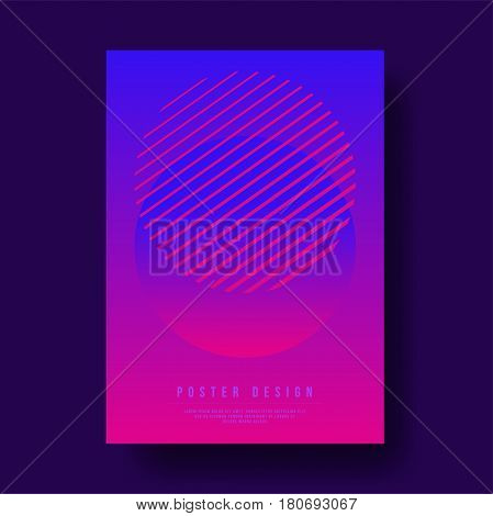 Abstract Circle with Geometric Line Cover Design - Vector illustration template