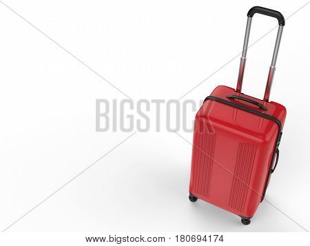 3d rendering red hard case luggage on white background