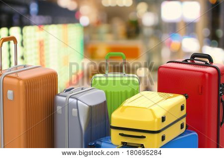 3d rendering hard case colorful luggage in airport