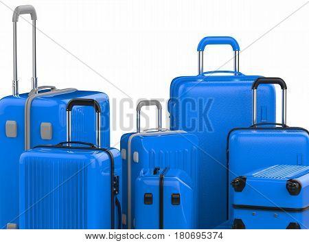 Blue Hard Case Luggages Isolated On White