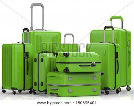 Green Hard Case Luggages On White Background