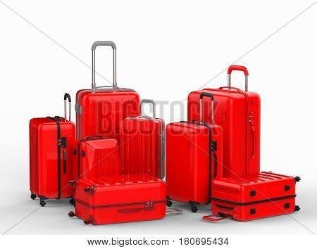 Red Hard Case Luggages On White Background