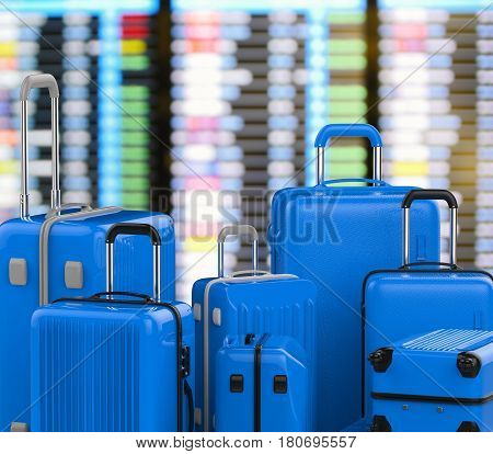 Blue Hard Case Luggages With Airport Background