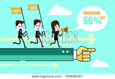 Marketing Teams go forward on hand command. Teamwork and Marketing plan concept. flat design elements. vector illustration