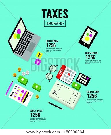 Isometric Taxes infographics. Data analysis, paperwork, financial research, report.