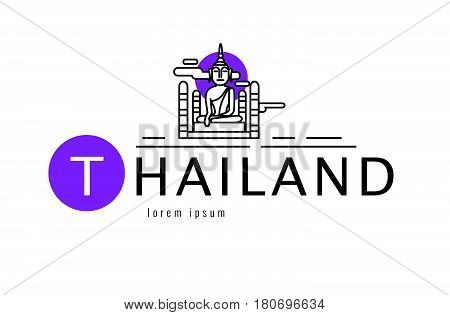 Thailand logo. Buddha sculpture. Sukhothai famous Landmark. flat thin line design element. vector illustration