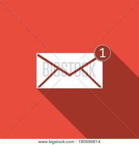 Received message concept. New, email incoming message, sms. Mail delivery service. Envelope flat icon with long shadow. Vector Illustration