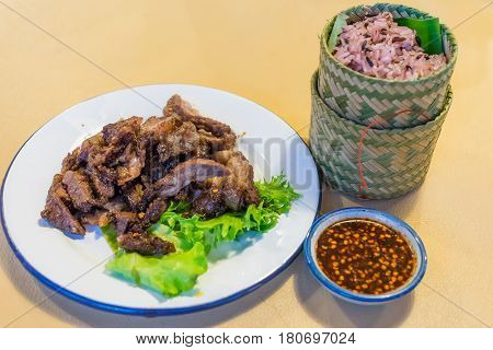 Grilled Thai's Beef Sliced On Decorated Dish Called Crying Tiger