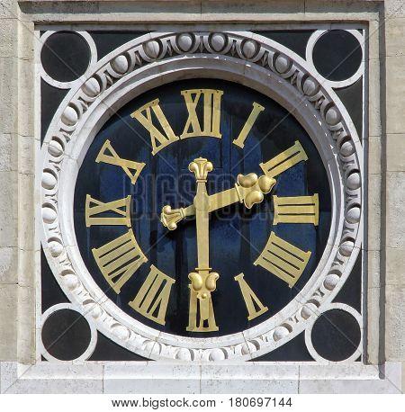 Budapest Hungary Szent István Basilica Neo Renaissance clock tower detail.