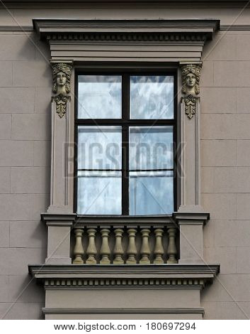 Budapest Hungary at the beginning of the century town house window decoration.