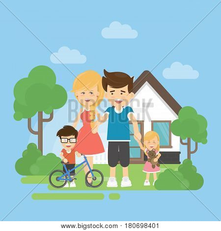 Happy family with house. Parents with son and dauhter stands near the home. Boy with bycicle.