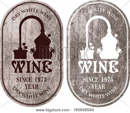 set of vector labels for wine with a production of wine in retro style on wooden background