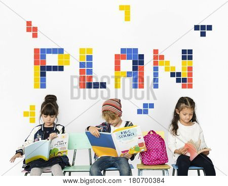8 bit words illustration of plan strategy vision