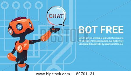 Free Chat Bot, Robot Virtual Assistance Element Of Website Or Mobile Applications, Artificial Intelligence Concept Flat Vector Illustration
