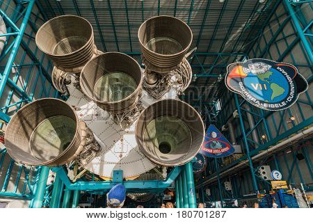 KENNEDY SPACE CENTER FLORIDA USA - FEBRUARY 18 2017: Interior of NASA Kennedy Space Center Apollo Saturn V Center at Kennedy Space Center Orlando Florida. This is the rocket used to go to the moon in 1969.