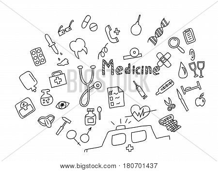 Hand drawn medicine icon set. Medical healthcare pharmacy doodle icons