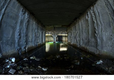 Bunker, abandoned underground. April 2,2017 in Kiev, Ukraine