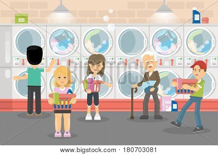 People in laundry serice. Men and women wash their clothes in washing machines.