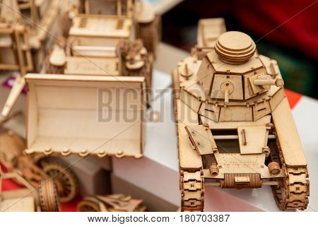 Miniature Wooden Scale Model Of Soviet Tank Gears