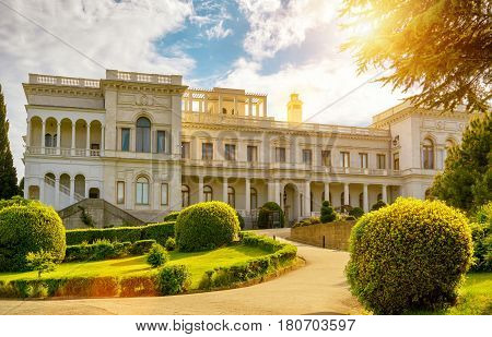 LIVADIA, RUSSIA - MAY 17, 2016: Livadia Palace near city of Yalta, Crimea. Livadia Palace was a summer retreat of the last Russian tsar Nicholas II. The Yalta Conference was held there in 1945.