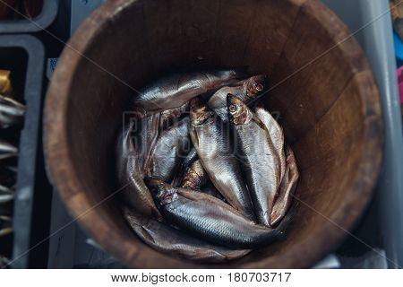 Herring In A Wooden Barrel - Sea Fish