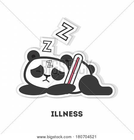 Sick panda bear. Isolated cute sticker on white background.