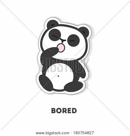 Bored panda bear. Isolated cute sticker on white background.