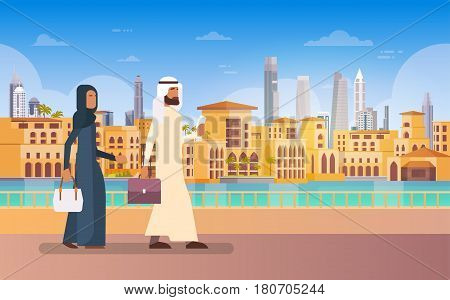 Arab Couple Walking Dubai, Modern Building Cityscape Skyline Panorama Business Travel And Tourism Concept Flat Vector Illustration