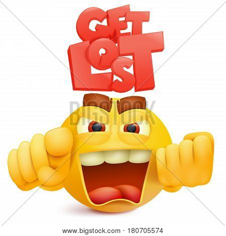 Yellow smile face emoji character with anger emotion. Vector illustration