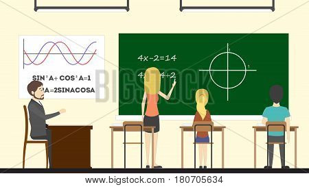 Math in class. Teacher with pupils. Trigonometry at rhe chalkboard.