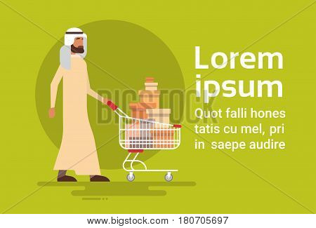 Arab Man With Shopping Cart Sale Arabic Businessman Buyer Flat Vector Illustration