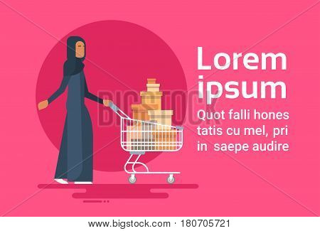 Arab Woman With Shopping Cart Sale Arabic Businesswoman Buyer Flat Vector Illustration