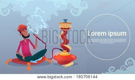 Arab Man Smoking Hookah Pipe Sitting On Floor Flat Vector Illustration