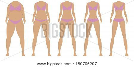 Before and after weight loss woman diet. From Fat to slim female bodies by five steps. Body whithout heads . Healthy and unhealthy lifestyle. Vector illustration.