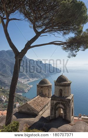 Fantastic view from Villa Rufolo Ravello Amalfi Coast Campania Italy to understand the concept of tourism and culture