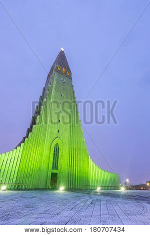 Hallgrimskirkja Cathedral Reykjavik Iceland night