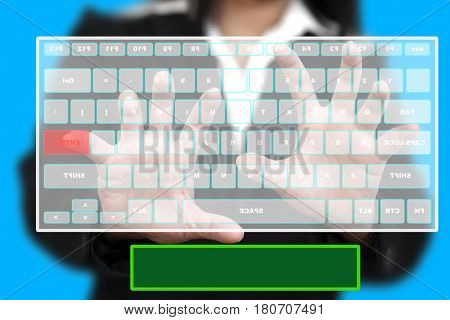Business Woman typing Happy New Year 2013 on Virtual Keyboard